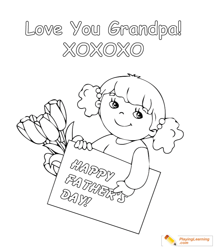Happy Fathers Day Grandpa Coloring Page 01 Free Happy Fathers Day Grandpa Coloring Page