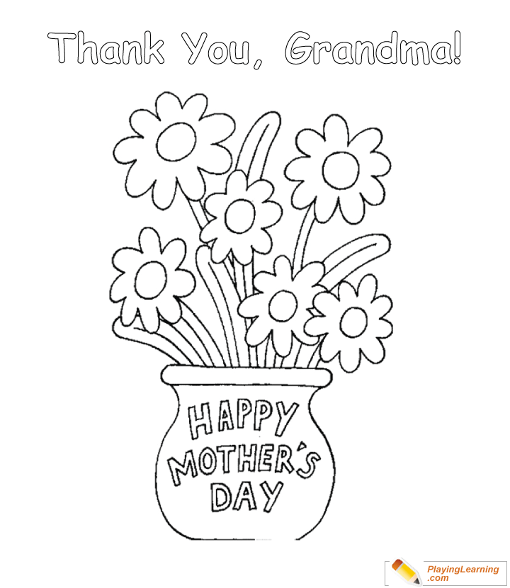 Happy Mothers Day Grandma Coloring Page 07 Free Happy Mothers Day Grandma Coloring Page
