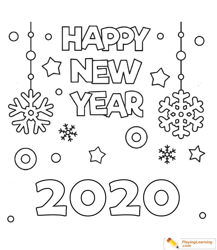 Happy New Year 2020 Coloring Page 02 | Free Happy New Year ...