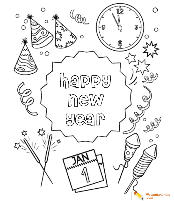 New Year Coloring Pages Merry And Happy New Year Coloring Pages ... | 830x720