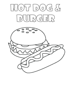 Burger And Hot Dog Coloring Pages Playing Learning