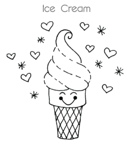 Ice Cream Coloring Page 1 For Kids