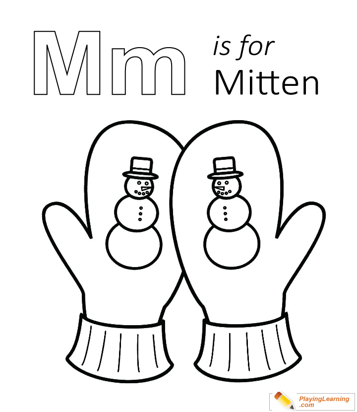 M Is For Mitten Coloring Page for Kids