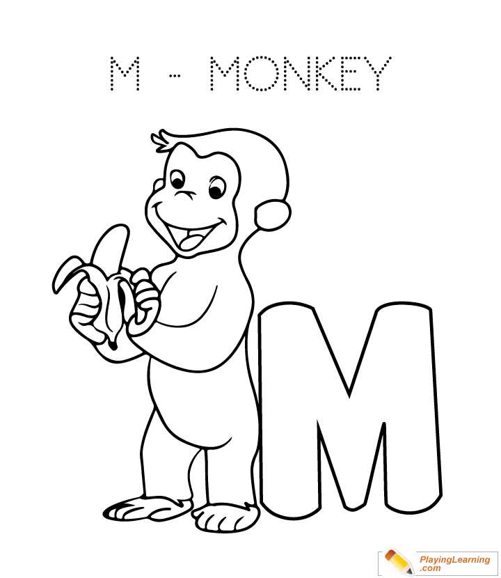M Is For Monkey Coloring Page Kids