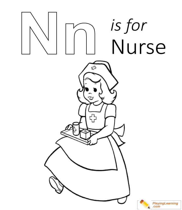 N Is For Nurse Coloring Page Free N Is For Nurse