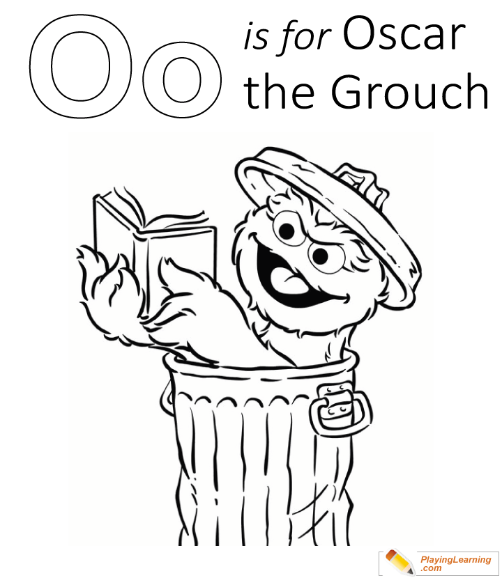 O Is For Oscar The Grouch Coloring Page 02 Free O Is For