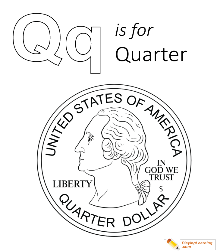 q is for quarter coloring page for kids - Coloring Page Quarter