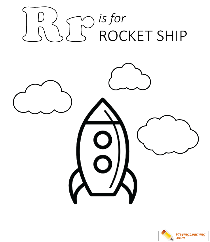 R Is For Rocket Ship Coloring Page 01 Free R Is For Rocket Ship Coloring Page