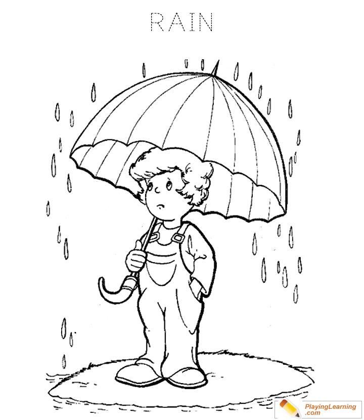 Rain Coloring Page 04 Free Rain Coloring Page