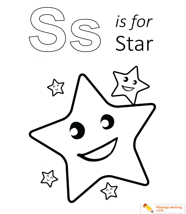 S Is For Star Coloring Page for Kids