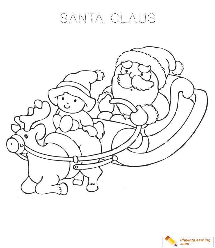 Santa Claus Sleigh Coloring Page for Kids