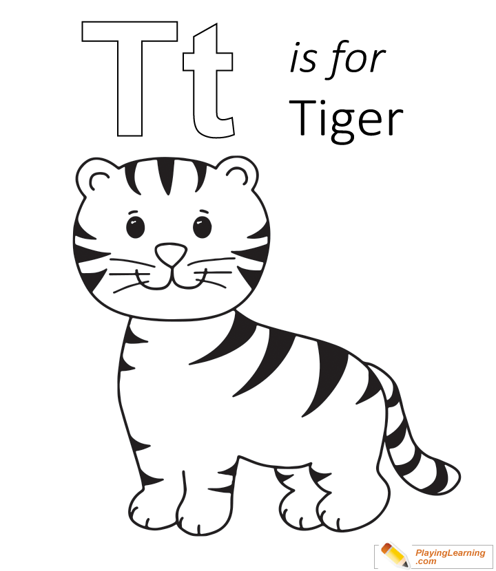 T Is For Tiger Coloring Page Kids