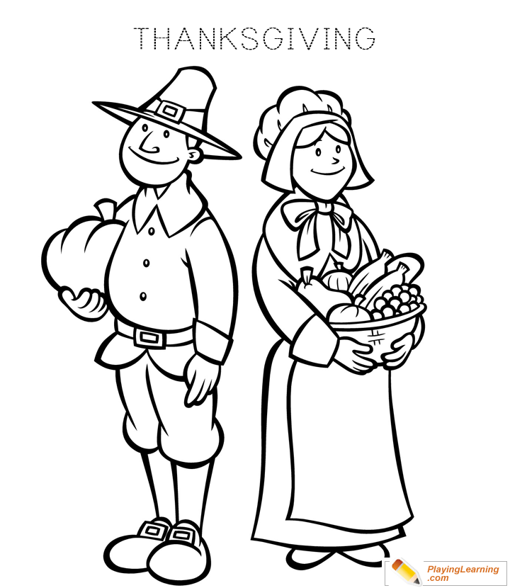 Thanksgiving Pilgrim Coloring Page 09 Free Thanksgiving Pilgrim