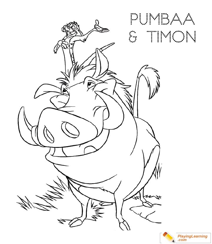 The Lion King Pumbaa Timon Coloring Page 03 Free The Lion