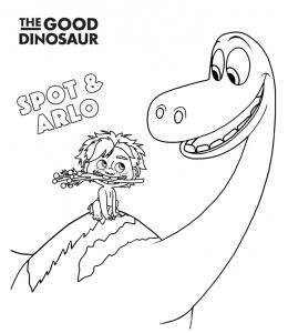 The Good Dinosaur - Arlo and Spot having fun coloring page | 300x260