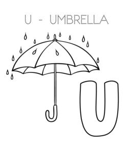 U Is For Umbrella Coloring Page Alphabet Colori...
