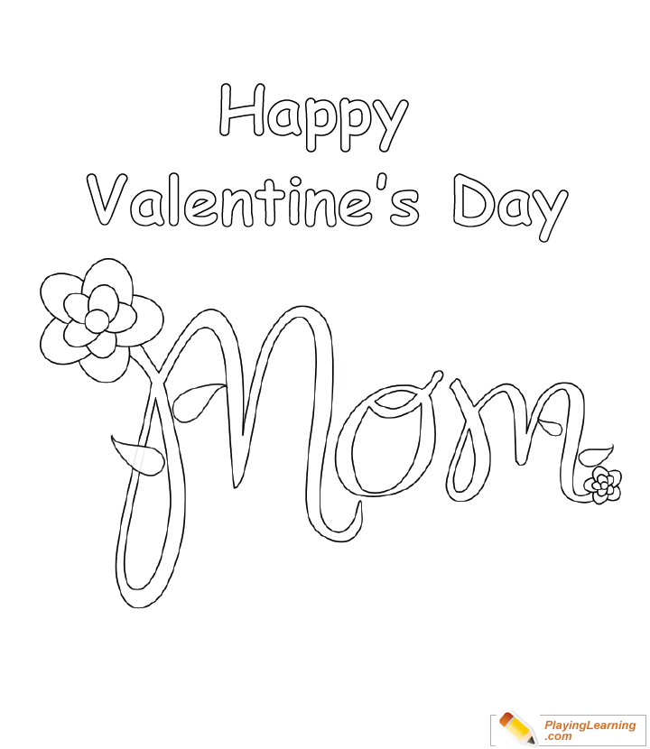 Valentine Day Coloring Card For Mom 04 Free Valentine Day Coloring Card  For Mom