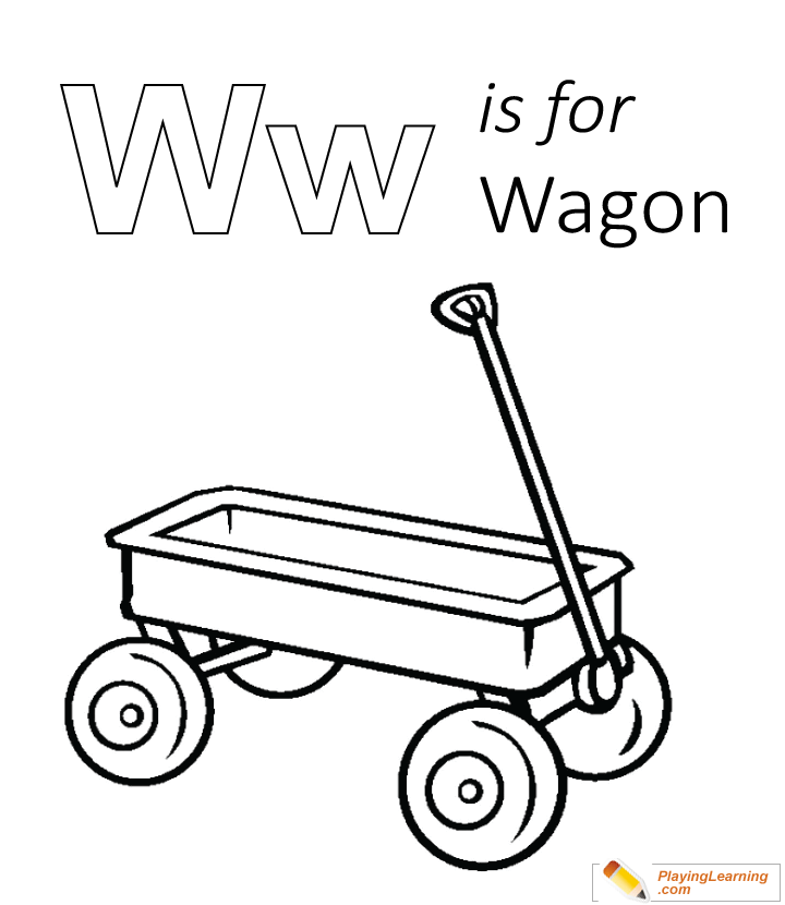 W Is For Wagon Coloring Page | Free W Is For Wagon Coloring Page
