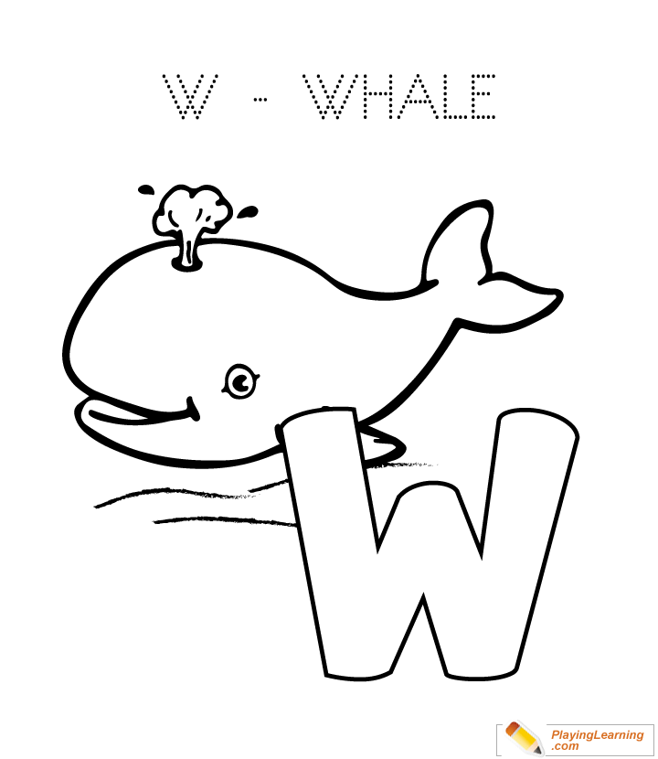 W Is For Whale Coloring Page Free