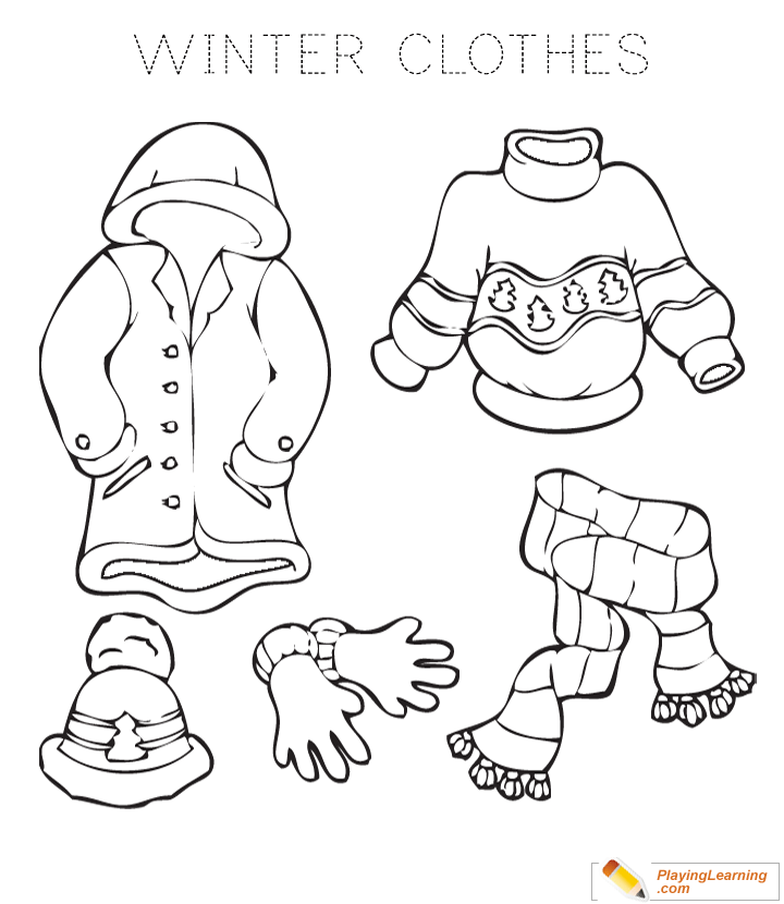 Winter Clothes Coloring Page 02 Free Winter Clothes Coloring Page