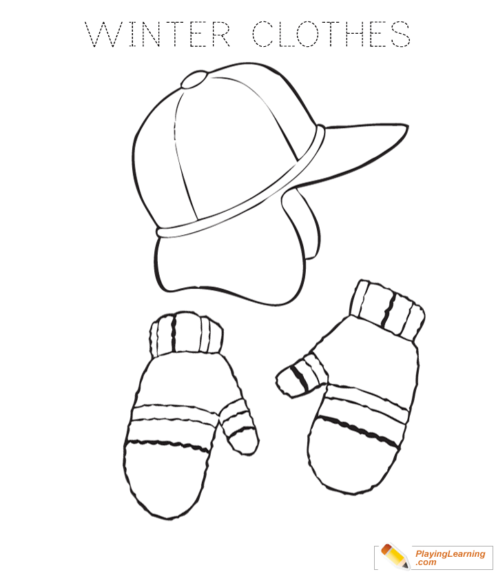 Winter Clothes Coloring Page 03 Free Winter Clothes Coloring Page