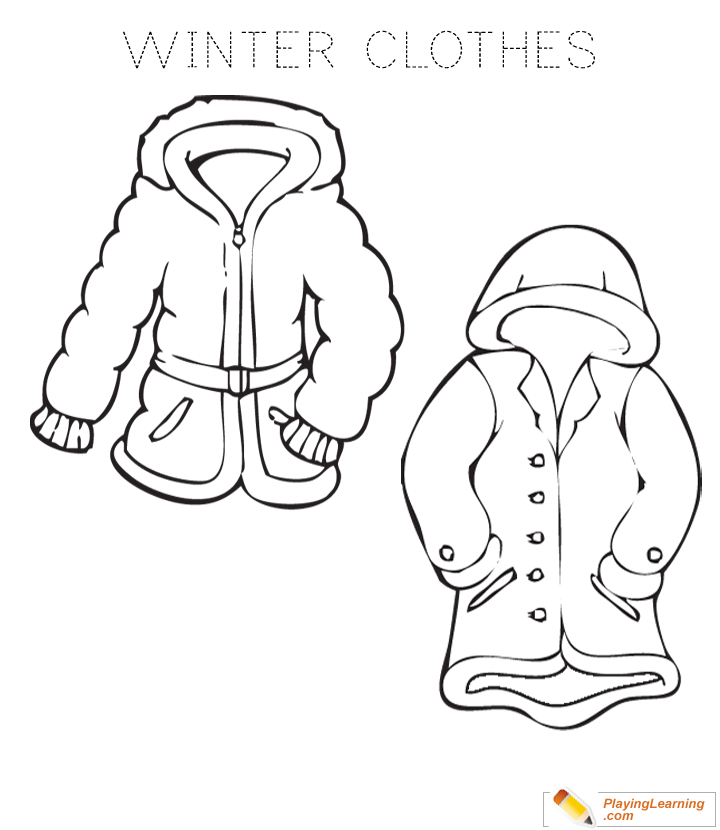 Winter Clothes Coloring Page 04 Free Winter Clothes Coloring Page