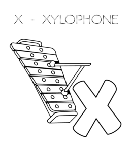 X Xylophone Coloring Page Is For Letter