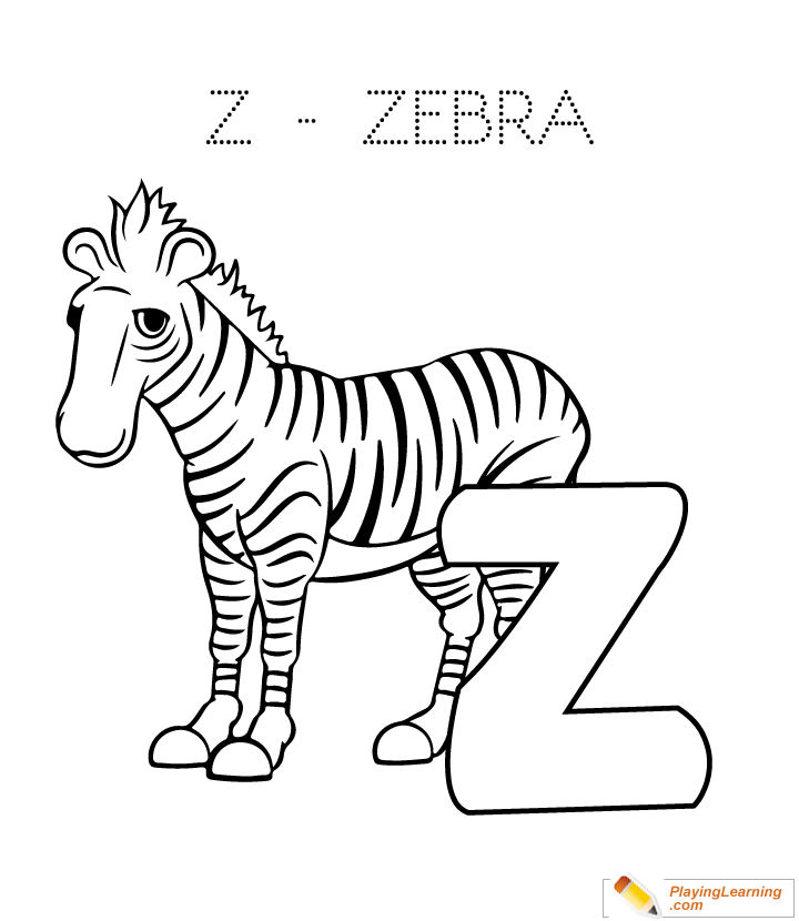 Z Is For Zebra Coloring Page for Kids