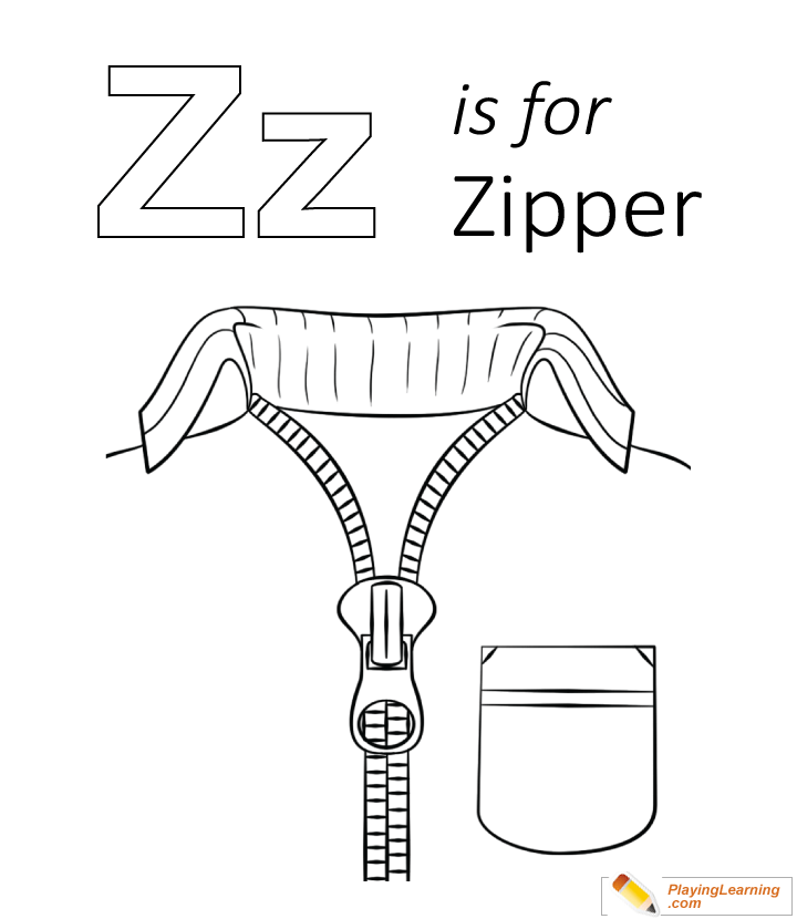 Z Is For Zipper Coloring Page For Kids