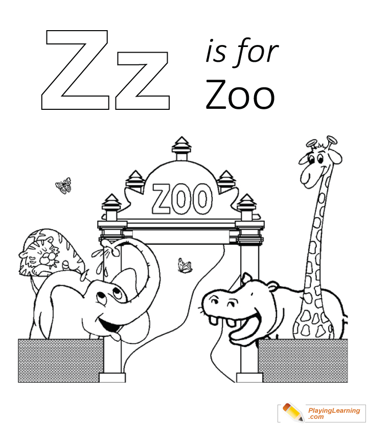 Z Is For Zoo Coloring Page for Kids